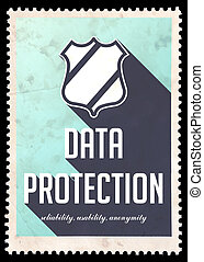Data Protection Concept on Blue in Flat Design.
