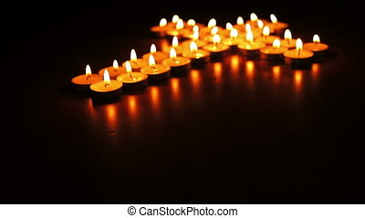 Candles Cross Dolly - Circular, shallow depth of field,...