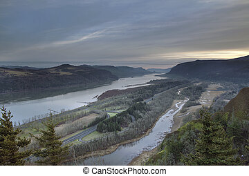 Columbia River and Highway 84 at Sunrise - Columbia River...