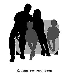 silhouette of a family  - silhouette of a family