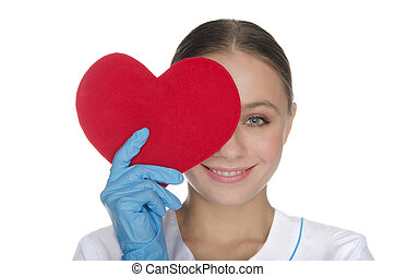 Smiling doctor right eye covered with heart symbol - Smiling...