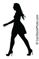 Image of a Long Legged Teenage Girl Model Walking Silhouette...