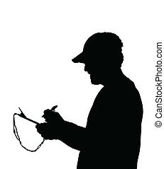 Man Holding and Writing on Clipboard Silhouette