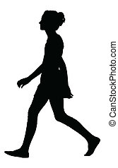Image of a Teenage Girl Model Walking Silhouette