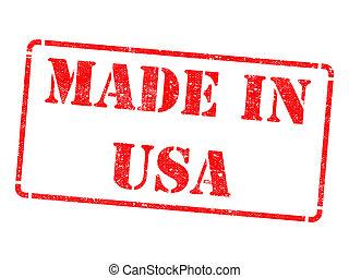 feito, EUA,  -, selo, borracha, vermelho