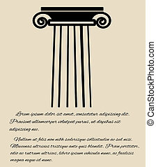 Greek column poster - Greek column in retro style...