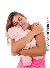 beautiful girl hugging teddy bear - beautiful sweet girl...