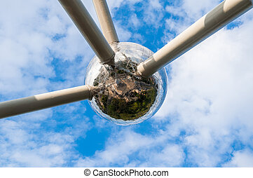 The Atomium monument. Built on the atomic principles of iron...