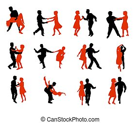 dancing people silhouettes - colored dancing people...