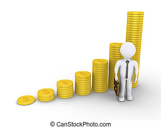 Graphic chart of stacked coins and a businessman