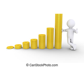 Graphic chart of stacked coins and a person - 3d graphic...