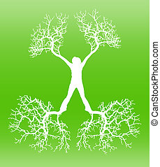 Person - The person with roots from feet and hands