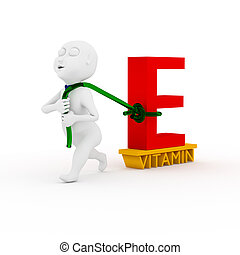 Love vitamins. - 3d kids are dragging vitamin E in white.