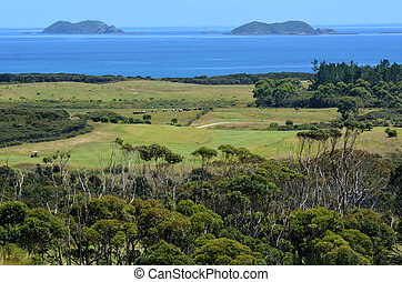Karikari Peninsula - New Zealand - Aerial landscape view of...