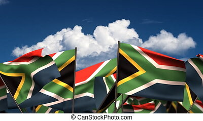 Waving South African Flags (seamless & alpha channel)