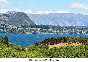 Wanaka - New Zealand - Landscape view of Wanaka lake and...