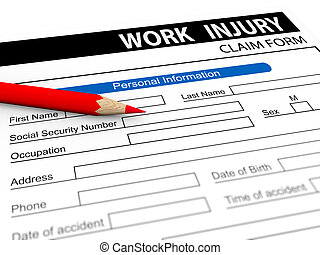 3d pencil and work injury claim form - 3d illustration of...