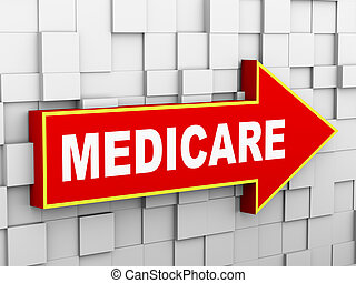 3d wall arrow - medicare - 3d illustration of abstract cube...