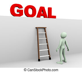 3d man looking at goal - 3d illustration of person standing...