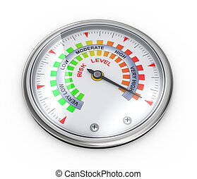 3d risk meter guage - 3d illustration of guage meter of risk...