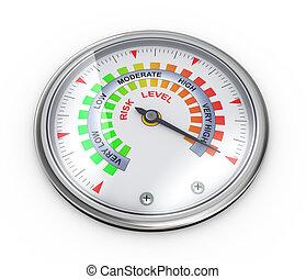 3d risk meter guage - 3d illustration of guage meter of risk...