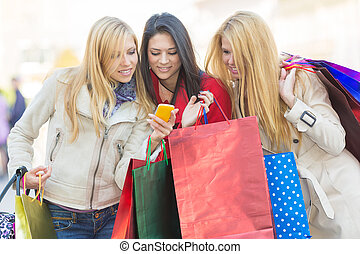 Friends shopping - Friends together having fun and shopping....