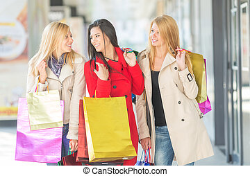Friends shopping - Friends together having fun and shopping...