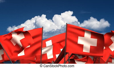 Waving Swiss Flags seamless alpha channel