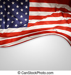 American flag - Closeup of American flag on plain background...