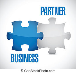 business partner puzzle illustration design over a white...