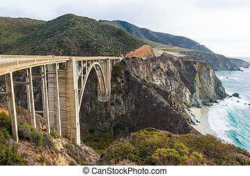 The Historic Bixby Bridge Pacific Coast Highway California -...