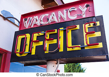 Vintage neon vacancy office sign - A retro neon vacancy...