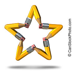 Creative Star - Creative star symbol as a group of yellow...
