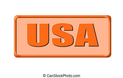 Button of united states of america isolated on white background