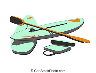 Isolated Water Sport Baords and Paddles - Vector...
