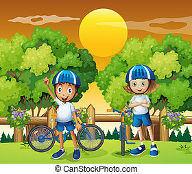 Two adorable kids biking - Illustration of the two adorable...
