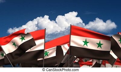 Waving Syrian Flags seamless alpha channel