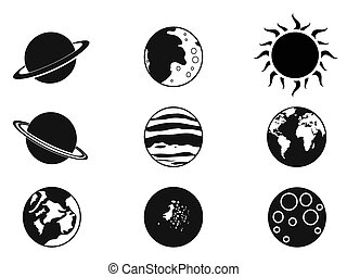 solar planet icons - isolated black solar planet icons from...