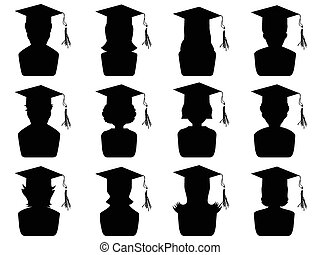 graduation head icons - isolated black graduation heads...