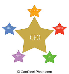 CFO Word Stars Concept with great terms such as chief,...