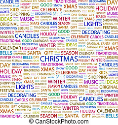 CHRISTMAS Word cloud concept illustration Wordcloud collage...