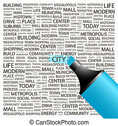 CITY Background concept wordcloud illustration Print concept...