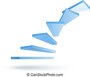 vector stairs - 3d vector climbing up stairs isolated on...