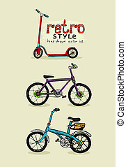 hipster style bike and scooter hand drawn vector...