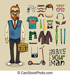 retro style man set - retro style man with hipster elements...