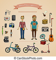 Hipster infographic concept with man, girl and accessories...