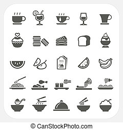 Food and Beverage icons set, EPS10, Don't use transparency.