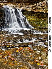 Autumn Canyon Falls - Water cascades over the Canyon Falls...
