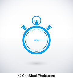stopwatch icon - vector blue stopwatch icon over white...
