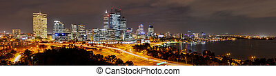Panoramic Skyline of Perth at night - Panoramic view of the...